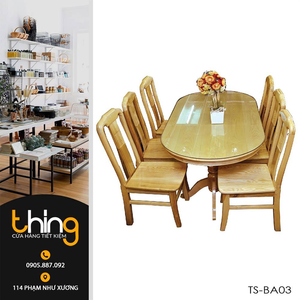 bàn ăn Oval 6 ghế gỗ Sồi