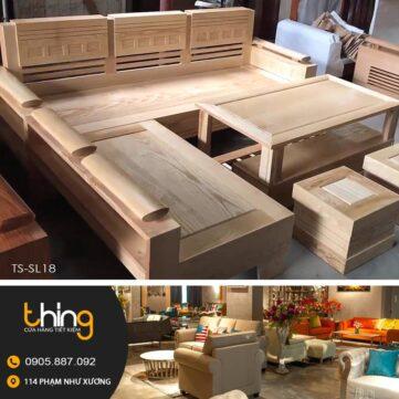 bàn ghế phòng khách gỗ sồi mặt liền