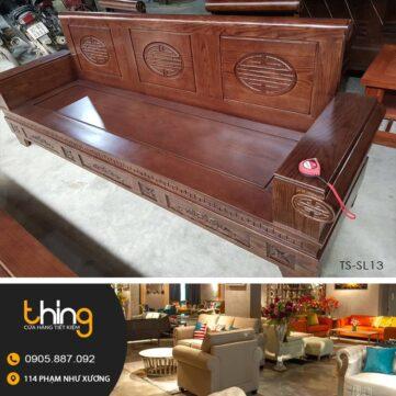 bàn ghế salon gỗ sồi tay pháo
