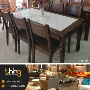 bộ bàn ăn 6 ghế mặt đá gỗ Sồi BA05