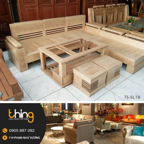 ghế salon góc mặt liền gỗ sồi chân hộp