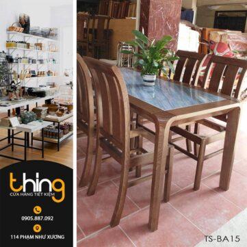 bàn ăn gỗ Sồi mặt đá TS-BA15