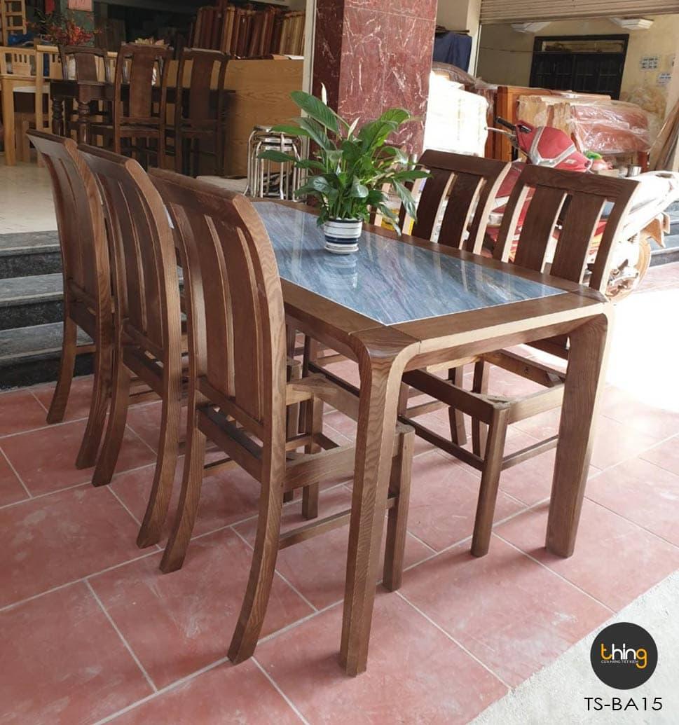 bàn ăn mặt đá gỗ Sồi Thing Store TS-BA15
