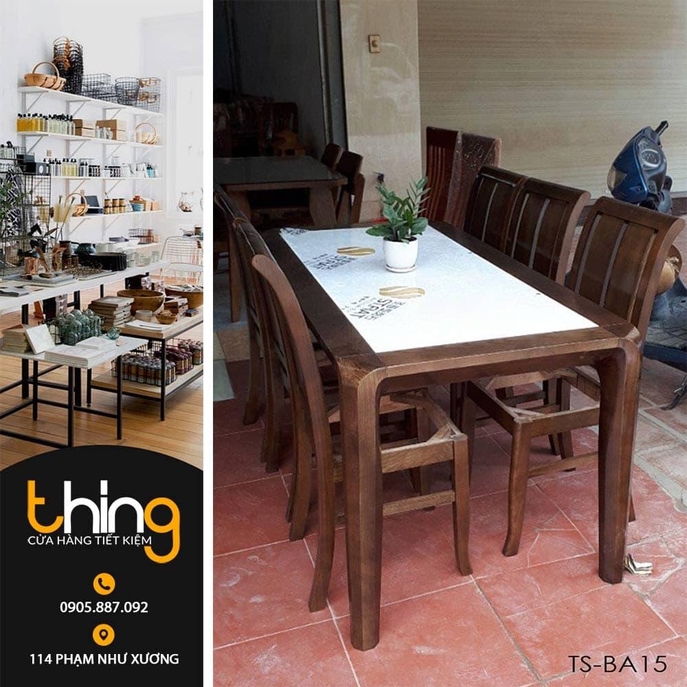 bàn ăn mặt đá gỗ gồi TS-BA15