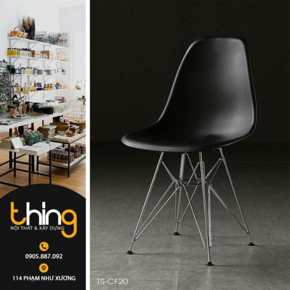 ghế nhựa chân sắt đẹp cho quán cafe